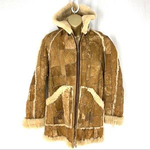 Jackets & Blazers - Vintage Patchwork Leather Shearling Hooded Jacket